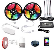 economico -KWB 2x5m Set luci Strisce luminose RGB Luci intelligenti 600 LED SMD5050 10mm 1 adattatore 12V 6A 1Impostare la staffa di montaggio 1 set Multicolore Impermeabile Controllo APP Accorciabile 100-240 V