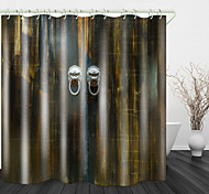 abordables -Porte en bois atmosphérique impression numérique rideau de douche en tissu imperméable pour salle de bain décor à la maison rideaux de baignoire couverts doublure comprend avec crochets