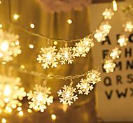 abordables -décoration de noël 5m 50led flocon de neige led guirlandes lumineuses alimenté par batterie guirlande lumineuse salon extérieur arbre noël halloween décoration de mariage lumière sans batterie