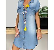 economico -camicia di jeans taglie forti da donna abito corto mini abito nero blu navy blu grigio manica corta tasca pulsante davanti estate scollo a v caldo cotone casual 2021 xl xxl