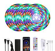 economico -Mashang luminoso rgb ha condotto le luci di striscia impermeabile 15 m sincronizzazione di musica luci tiktok a led intelligenti 900leds 2835 cambia colore con 24 tasti controller bluetooth remoto per