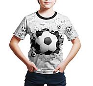 abordables -Enfants Bébé Garçon T-shirt Tee-shirts Manches Courtes Géométrique 3D Imprimé Enfants Le Jour des enfants Hauts Actif Chic de Rue Blanche