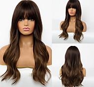 abordables -Perruque Synthétique Ondulation naturelle Coupe Dégradée Perruque Long Cheveux Synthétiques 24 pouce Femme Design Tendance Vie Homme Marron