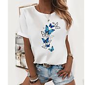 economico -Per donna maglietta Farfalla Stampe astratte Rotonda Top 100% cotone Top basic Bianco