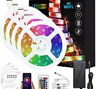 abordables -ZDM amélioré 65ft (4 * 5m) app contrôle intelligent LED bandes lumineuses IR 24 touches contrôleur wifi 5050 RVB étanche LED bande de lumière douce avec kit d'adaptateur DC12V