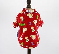 economico -Cane Cappottini T-shirt Maglioni Strisce Di tendenza Casual All'aperto Inverno Abbigliamento per cani Vestiti del cucciolo Abiti per cani Rosso Costume per ragazza e ragazzo cane Flanella XS S M L XL