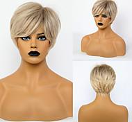 abordables -Perruque Synthétique Droite naturelle Coupe Dégradée Perruque Court Or clair Cheveux Synthétiques 10 pouce Femme Design à la mode Vie Adorable Blond