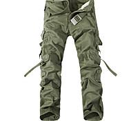 economico -Per uomo Per sport All'aperto Sport Fine settimana Carico tattico Pantaloni Tinta unita Lunghezza intera Nero Verde militare Cachi Marrone Grigio
