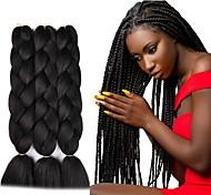 abordables -Crochet Hair Braids Jumbo Box Braids Noir Marron foncé Cheveux Synthétiques Long Rajouts de Tresses 6pcs 3pcs 1pc