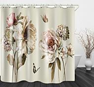 abordables -Fleurs en fleurs rideau de douche en tissu imperméable à imprimé numérique pour salle de bain décor à la maison rideaux de baignoire couverts doublure comprend avec crochets