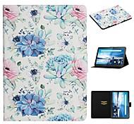 abordables -téléphone Coque Pour Tablettes Lenovo Coque Intégrale M10 Plus TB-X606F Lenovo M10 TB-X605F TB-X505F Porte Carte Avec Support Motif Fleur faux cuir