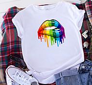 economico -Per donna maglietta Arcobaleno Alimenti Con stampe Rotonda Top 100% cotone Essenziale Top basic Bianco Nero Giallo