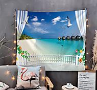 abordables -fenêtre paysage mur tapisserie art décor couverture rideau pique-nique nappe suspendu maison chambre salon dortoir décoration polyester mer océan plage pier animal