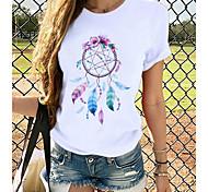 economico -Per donna maglietta Farfalla Stampe astratte Rotonda Top 100% cotone Top basic Farfalla Bianco Nero