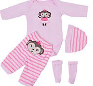abordables -Vêtements de poupées bébé Reborn Accessoires pour poupées Reborn Tissu en Coton pour poupée Reborn 22-24 pouces Ne pas inclure la poupée Reborn Singe Doux Pur fait main Fille 4 pcs