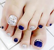 abordables -Ongle d'orteil entièrement percé bleu argenté usure un patch de manucure de pied patch en boîte