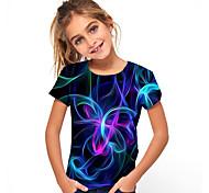 economico -Bambino Da ragazza maglietta T-shirt Manica corta Jacquard 3D Print Monocolore Bambini Estate Top Essenziale Vacanze Blu