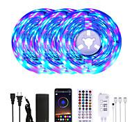 abordables -Mashang 15 m (3 * 5 m) rgb led bandes lumineuses musique sync smart led lumières tiktok lumières 900leds smd 2835 changement de couleur avec 40 touches télécommande bluetooth contrôleur pour la maison