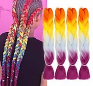 abordables -Crochet Hair Braids Jumbo Box Braids Couleur naturelle Cheveux Synthétiques 24 pouce Rajouts de Tresses 6pcs 3pcs Résistant à la chaleur