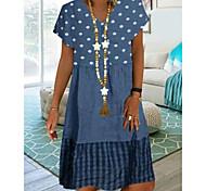 abordables -Femme Robe Longueur Genou Bleu Kaki Vert Manches Courtes Pois Imprimé Eté Col Rond chaud Simple M L XL XXL 3XL 4XL 5XL / Grandes Tailles