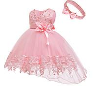 abordables -enfant en bas âge petite fille active fête d'anniversaire de base en dentelle de couleur unie robe sans manches au genou blanc 1-3 ans