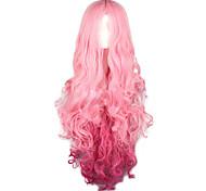 economico -Parrucca del costume cosplay Parrucche sintetiche Riccio Halloween Parte di mezzo Parrucca Lungo Pink + Red Capelli sintetici 28 pollice Per donna Feste sintetico Rosa