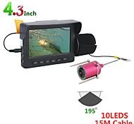 abordables -15m 1200tvl fish finder caméra de pêche sous-marine 4.3 pouces moniteur 10 pcs led vision nocturne 195 degrés caméra pour la pêche