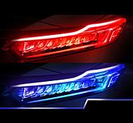abordables -2pcs nouveau type de bande de guidage de lumière ultra mince 45cm double couleur LED lampe à eau voiture lampe décorative blanc jaune clignotant
