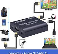 abordables -Carte de capture vidéo HDMI 4K Sortie audio 3,5 mm Enregistreur d'entrée micro Boîte de jeu Diffusion en direct Carte de capture en continu Prise en charge USB 2.0 USB 3.0 Plug and Play Aucun pilote n