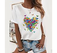 abordables -T-shirt Femme Quotidien Papillon Imprimés Photos Manches Courtes Col Rond Hauts Mince Haut de base 100% Coton Noir et Vert Papillon Chat