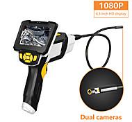 abordables -caméra d'inspection portable endoscope portable à double lentille 4.3screen avec endoscopie numérique industrielle à 6 leds 8mm avec carte tf 32gb
