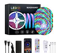 abordables -Mashang Bright RGB LED Strip Lights Étanche 15m Music Sync Smart LED Tiktok Lights 900leds 2835 Changement de couleur avec 24 touches Contrôleur Bluetooth à distance pour la maison Chambre TV