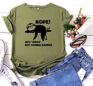 economico -Per donna maglietta Pop art Testo Alfabetico Con stampe Rotonda Top 100% cotone Essenziale Top basic Bianco Giallo Rosa