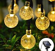 abordables -6.5m 30led solaire led chaîne de lumière boule de cristal bulle lampe fée guirlandes lumineuses 8 fonction extérieure étanche pour mariage jardin pelouse décoration de noël lampe solaire