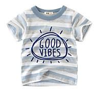 economico -Bambino Da ragazzo maglietta T-shirt Manica corta A strisce Azzurro Cotone Bambini Top Estate Moda città