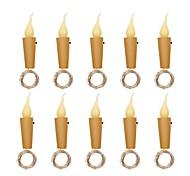 economico -10pcs 2m 20 led luce stringa di candela regalo di natale bottiglia di vino mini fiamma lampada sughero decorazione per vacanze di natale data di matrimonio bar a casa san valentino