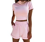 abordables -Femme basique Couleur unie Sport extérieur Sport de détente Faire de l'exercice Ensemble deux pièces Mi-long Survêtement T-shirt Pantalon Vêtements d'intérieur Hauts