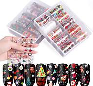 abordables -10 pcs / boîte Nail Halloween Nail Art Étoilé Autocollant Ensemble Nail Autocollant Papier De Transfert De Noël Papier Étoilé