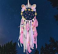 economico -led boho acchiappasogni regalo fatto a mano appeso a parete arredamento arte ornamento mestiere unicorno fiore 20 * 75 cm per bambini camera da letto festival di nozze