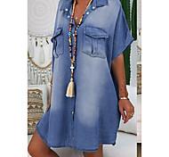 economico -Per donna Abito camicia di jeans Abito al ginocchio Blu Blu turchese Azzurro Manica corta Estate A V caldo Casuale 100% cotone 2021 S M L XL XXL 3XL