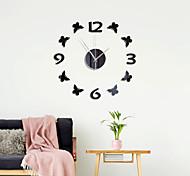 abordables -Horloge murale bricolage sans cadre, miroir 3d horloge murale acrylique mute stickers muraux pour salon chambre décorations pour la maison