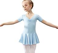 economico -Danza classica Calzamaglia / Pigiama intero Fiocco in satin Tinta unita Da ragazza Addestramento Prestazioni Manica corta Naturale Cotone