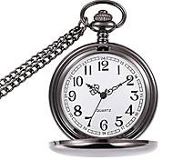 economico -orologio da tasca classico vintage liscio orologio da uomo in acciaio argento con catena da 14 pollici per la festa del papà di natale (oro)