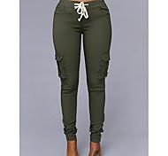 abordables -Femme basique Chic et moderne Quotidien Bureau Pantalons Chino Pantalon Couleur Pleine Cordon Blanche Noir Rouge Vin Vert Véronèse