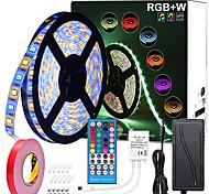 abordables -zdm 5m rgbw led bandes lumières étanches 16.4ft 300leds smd 5050 blanc chaud plus lumière rgb avec télécommande à 40 touches ou kit d'alimentation 12v