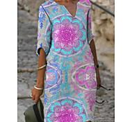 abordables -Femme Robe Droite Robe Longueur Genou Rose Claire Demi Manches Fleurie Printemps Eté chaud Simple robes de vacances 2021 S M L XL XXL 3XL