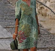 abordables -Femme Robe Droite Robe Longueur Genou Vert Demi Manches Feuille Imprimé Eté Col en V chaud Simple robes de vacances 2021 M L XL XXL 3XL