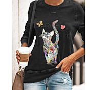 abordables -T-shirt Femme Quotidien Chat Imprimés Photos Manches Longues Imprimé Col Rond Hauts Standard Haut de base basique Noir Bleu Vert