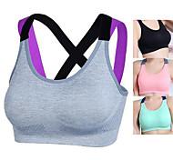 economico -Per donna Reggiseni sportivi Top reggiseno sportivo Bralette Nylon Yoga Esercizi di fitness Corsa Asciugatura rapida No Nero Rosa Grigio Verde Tinta unita
