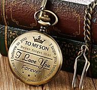 abordables -montre de poche gravée en bronze à son fils je t'aime cadeaux d'un cadeau d'anniversaire maman papa montres chaînes litbwat